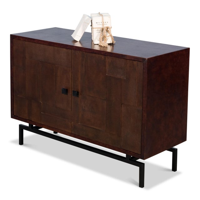 Sarreid Patchwork Leather Sideboard, 2 Dr For Sale In Raleigh - Image 6 of 7
