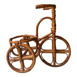 1970s Vintage Rattan Tricycle Plant Pot Holder - Decorative Miniature