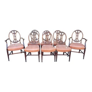 Antique 1900s George III Style Mahogany Dining Room Chairs - Set of 8 For Sale