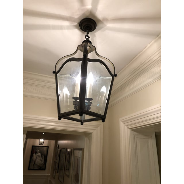 Like new Dennis & Leen hanging lantern in brushed bronze finish... the ultimate entry hanging light... beautifully made...