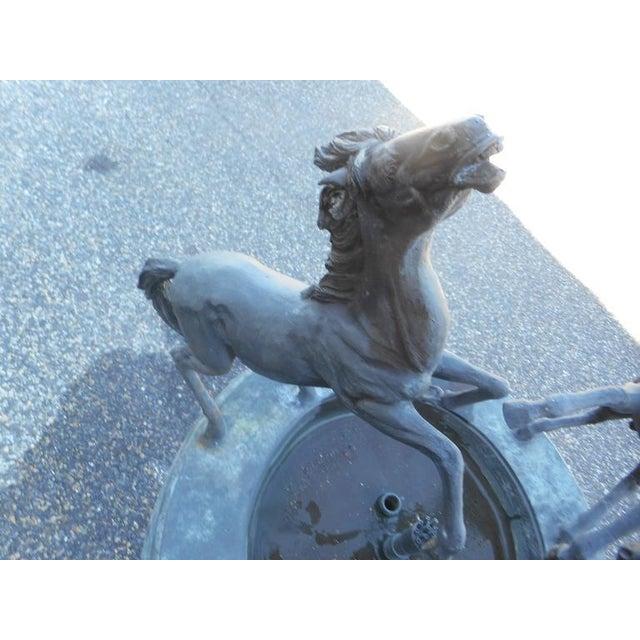 Art Nouveau Bronze Horse Fountain on a Pedestal Base For Sale - Image 3 of 5