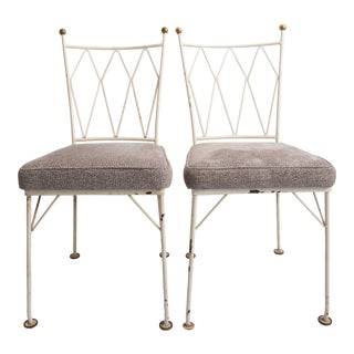 Mid Century Modern Painted Iron Chairs- A Pair For Sale
