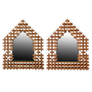 Crown of Thorns Tramp Art Mirror Sconces - a Pair