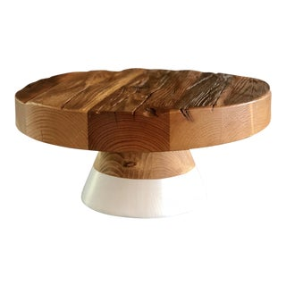Reclaimed Wood Serving Platter / Cake Plate For Sale