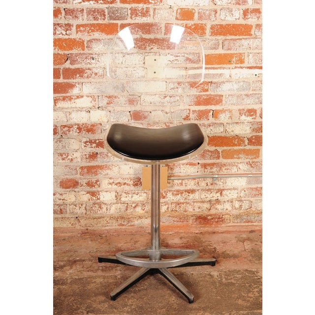 Mid-Century Lucite & Leather Bar Stools - a Pair For Sale - Image 4 of 10
