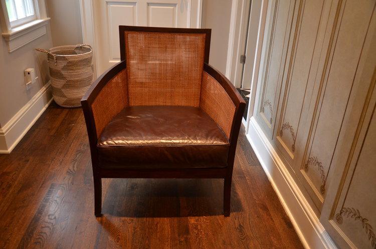 Crate U0026 Barrel Rattan U0026 Leather Accent Chair   Image ...