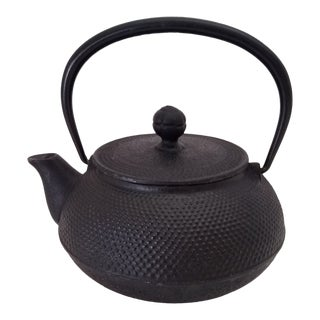 Vintage 1940s Japanese Tetsubin Iwachu Hobnail Cast Iron and Porcelain Tea Pot and Strainer For Sale