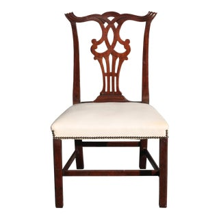 Vintage Mid-Century Chippendale Style Carved Mahogany Occasional Chair For Sale