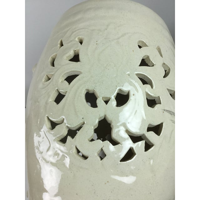 Vintage White Pierced Asian Garden Seat Stool For Sale - Image 4 of 13