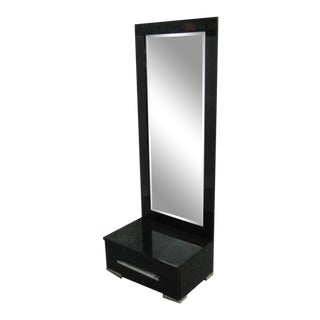 Chinoiserie Black Lacquer Full Length Drawer Mirror For Sale