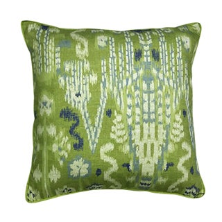 Lacefield 22x22 Green/Blue Ikat Pillow For Sale