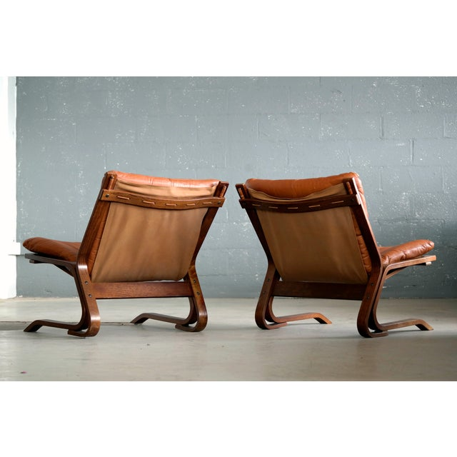 Pair of Mid-Century Norwegian Easy Chairs in Cognac Leather by Oddvin Rykken For Sale - Image 9 of 10