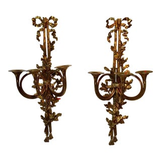 Large French Louis XVI Style Bronze Wall Sconces - a Pair For Sale