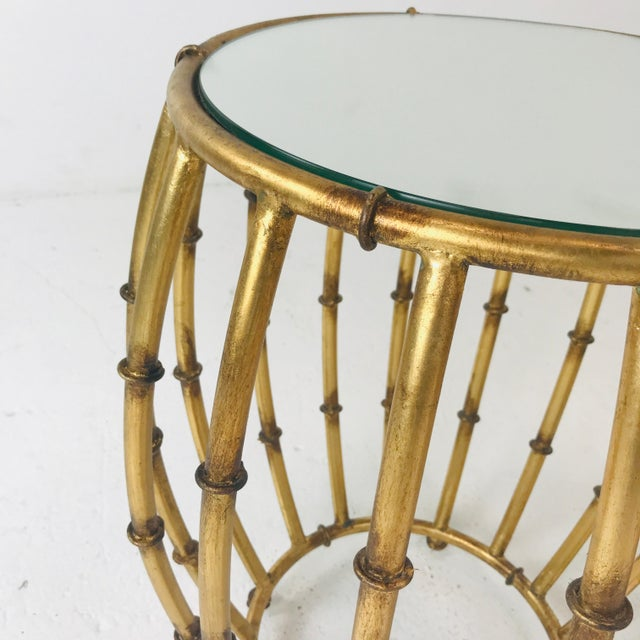 Pair of Gold Faux Bamboo Drum Side Tables With Mirrored Tops For Sale In Dallas - Image 6 of 12