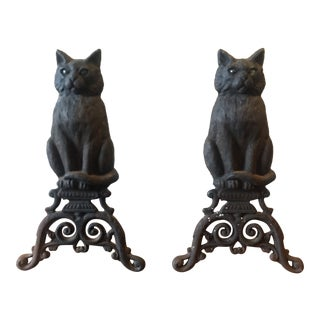 Vintage Cast Iron Black Cat Andirons- a Pair For Sale