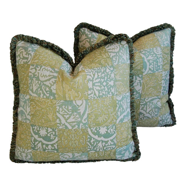 """21"""" Custom Italian Fortuny Piazzetta & Boucher Feather/Down Pillows - Pair - Image 1 of 10"""