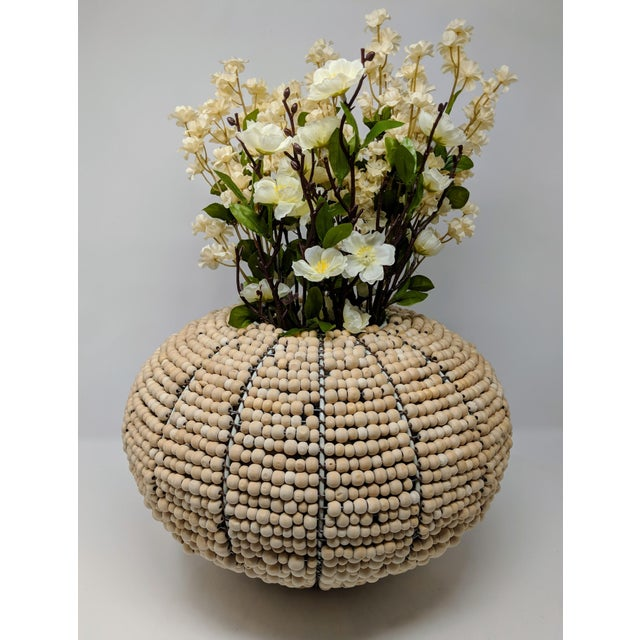 Metal Tribal Fair Trade Beaded Vase For Sale - Image 7 of 10