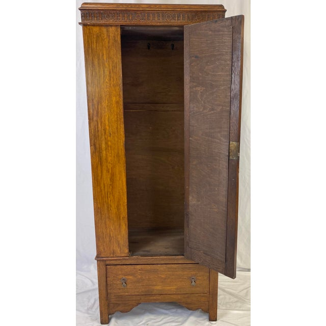 Antique English Hand Carved Walnut Hall Wardrobe For Sale - Image 4 of 10