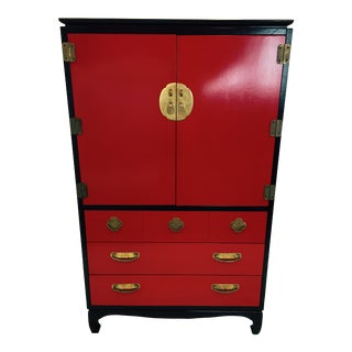 Lacquered Red & Black Ming Style Dressing Cabinet