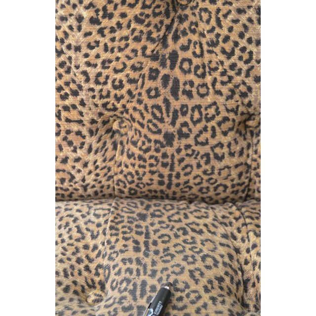 Brown Leopard Print Upholstered Tufted Chaise Lounge Recamier For Sale - Image 8 of 12