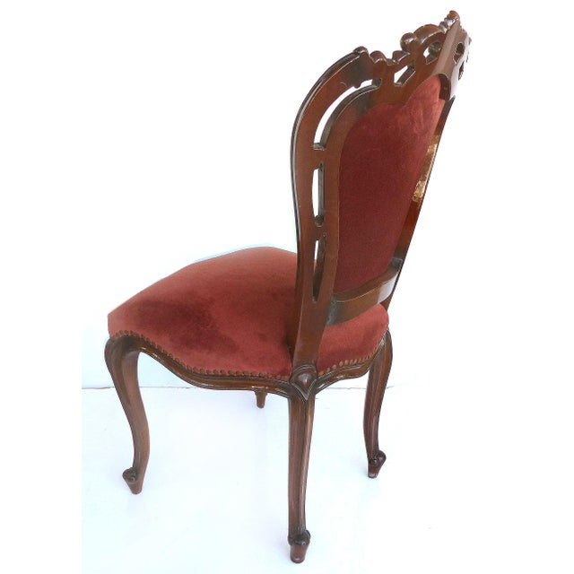 1980s Louis XV Style Mahogany Dining Chairs With Carved Pierced Backs-Set of 6 For Sale - Image 5 of 12