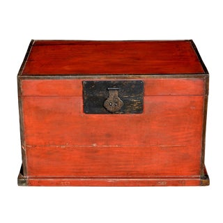 Asian Antique Red Wooden Trunk, Blanket Chest