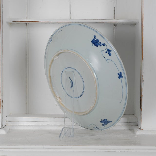 Ink Blue 17th Century Antique Chinese Porcelain Blue and White Deep Charger Bowl Ceramic For Sale - Image 8 of 12