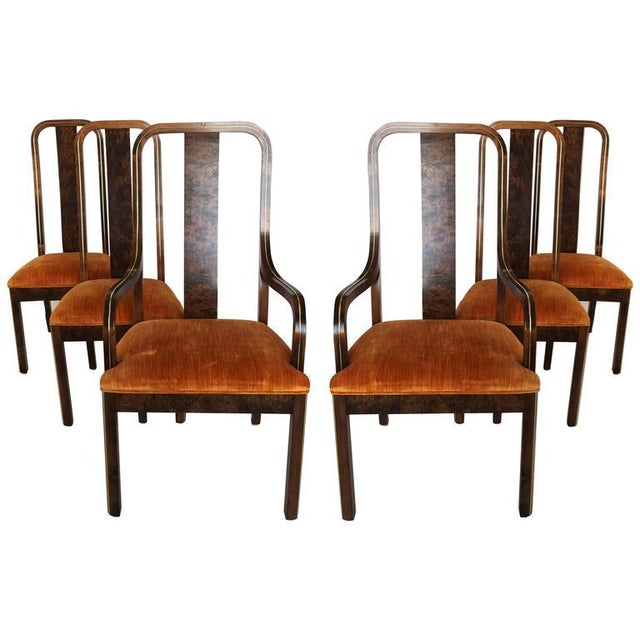 Brass Set of Six Burl Wood and Brass Dining Chairs by Century Furniture For Sale - Image 7 of 7