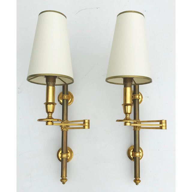 Metal 1960s Maison Jansen Swing Arms Sconces - a Pair, 2 Pairs Available For Sale - Image 7 of 7