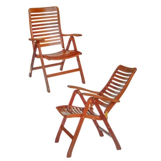 Folding Teak Boat Deck Chairs For Sale
