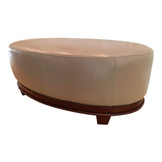 Modern Barbara Barry for Baker Leather Oval X Ottoman For Sale
