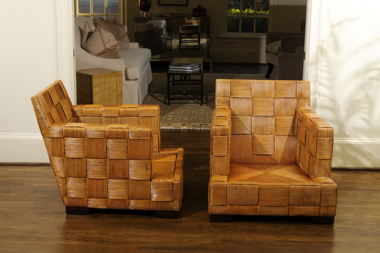 Stunning Pair Of Block Island Club Chairs By John Hutton For Donghia    Image 4 Of