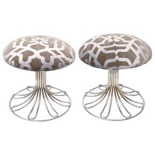 1960s Vintage Italian Nickel Silver and Upholstered Stools- A Pair For Sale