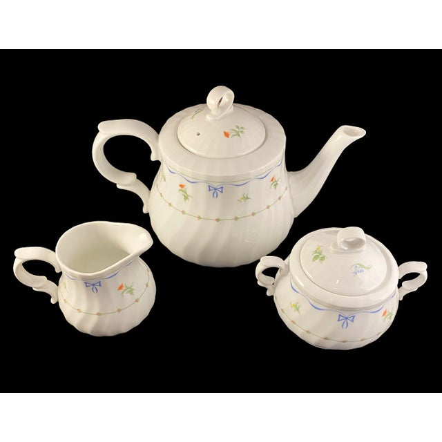 "Beautiful Royal Worcester Fine Porcelain Tea Set in the Ribbons and Bows Pattern! Each piece measures approx.: Teapot: 10""..."