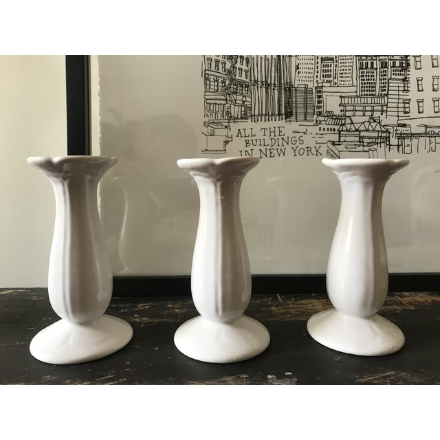 1990s Contemporary White Porcelain Candle Holders - Set of 3 For Sale - Image 4 of 7