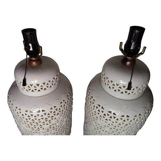 Oversized Blanc De Chine Lamps - Pair - Image 2 of 5