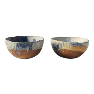 Ceramic Ribbed Bowls With Glaze - Set of 2 For Sale