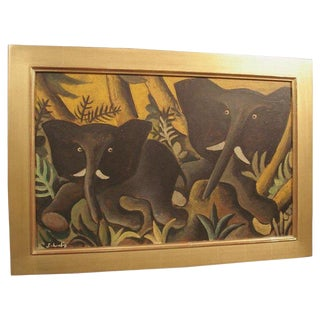 An Early Elephants Painting by Hans Scherfig (b.1905-79) For Sale