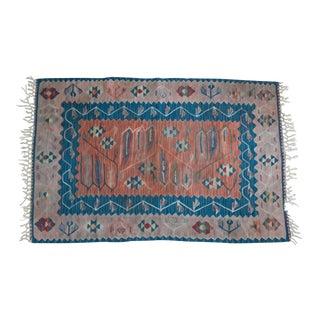 1960s Vintage Turkish Kilim Rug - 3′7″ × 5′6″ For Sale