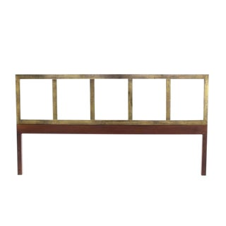 Brass and Wood Mid-Century Modern King-Size Headboard For Sale