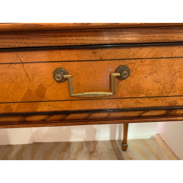 Vintage Mahogany Writing Desk With Black Leather Top For Sale - Image 10 of 13