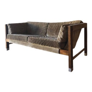 1970s Jack Cartwright Sling Loveseat in Original Suede Upholstery For Sale