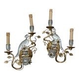 Image of Pair of Bagues Style Glass Bird Form Sconces For Sale