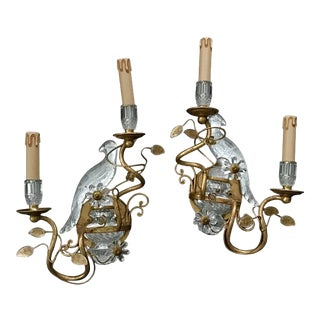 Pair of Bagues Style Glass Bird Form Sconces For Sale