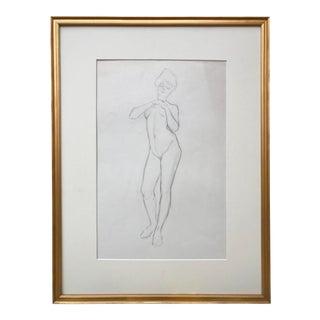 Original Vintage Art Nouveau Nude Figural Drawing by Charles Sheldon For Sale