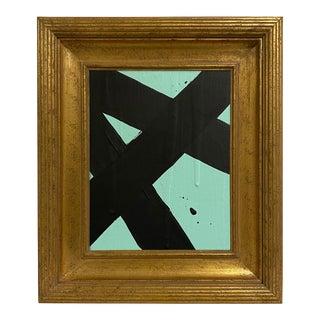 Ron Giusti Mini Abstract Aqua and Black Acrylic Painting, Framed For Sale