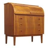 Image of Mid Century Swedish Modern Egon Ostergaard Teak Rolltop Secretary Desk For Sale