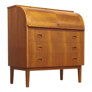 Mid Century Swedish Modern Egon Ostergaard Teak Rolltop Secretary Desk For Sale