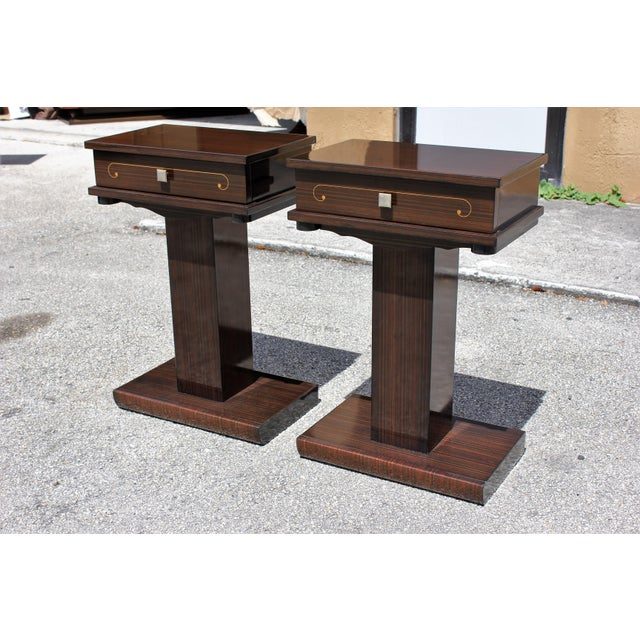 French Art Deco Macassar Ebony Nightstands - A Pair - Image 5 of 10