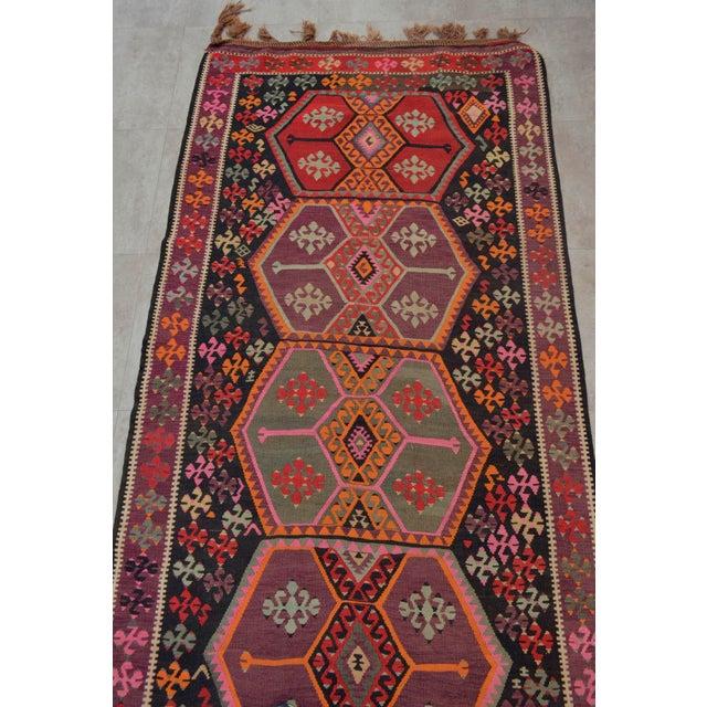 Vintage Anatolian Kars Kilim Rug Large Runner